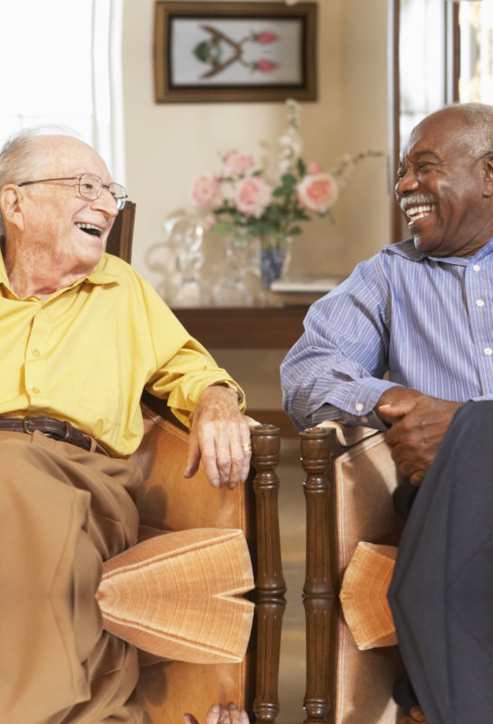 senior men relaxing in armchairs and laughing at each other